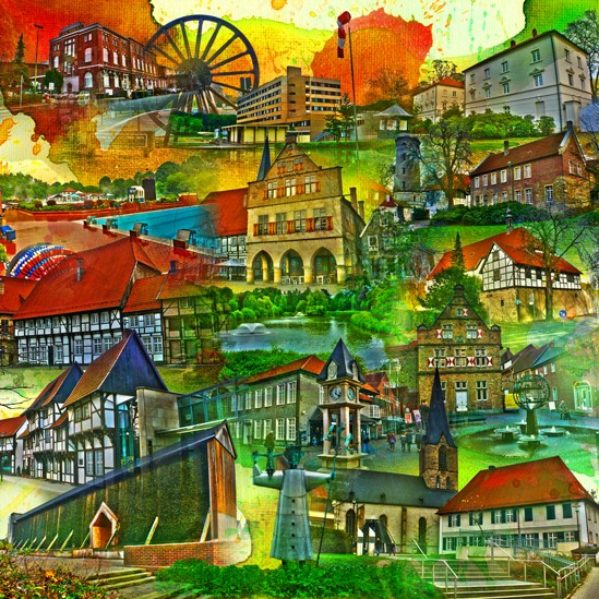 RAY - RAYcities - Werne 1 - Collage - 70 x 70 cm
