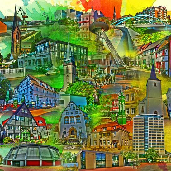 RAY - RAYcities - Lünen - Collage - 100 x 100 cm
