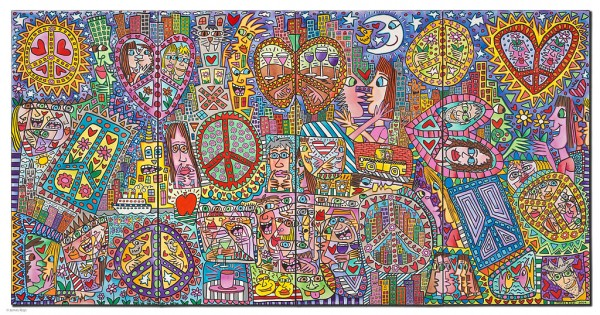 JAMES RIZZI - GIVE PEACE A CHANCE I - IV (Pigmentdruck auf Leinwand)