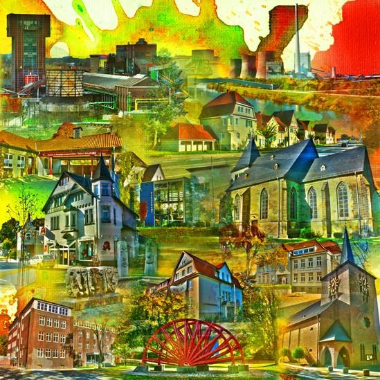 RAY - RAYcities - Hamm - Collage - Herringen - 100 x 100 cm
