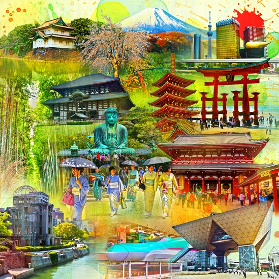 RAY - RAYcities - Japan - Collage - 100 x 100 cm