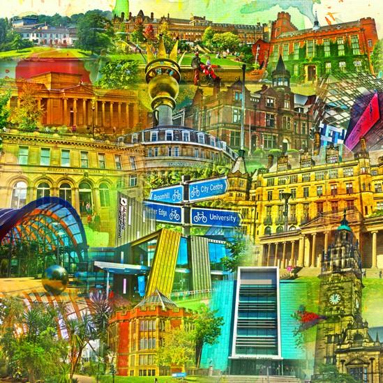 RAY - RAYcities - Sheffield - Collage - 70 x 70 cm