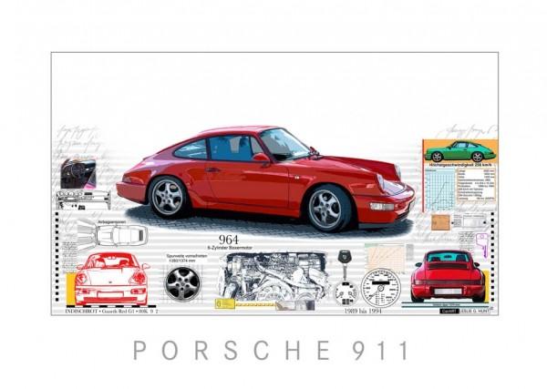 LESLIE G. HUNT - Porsche 911 + 964 - 70x50 cm