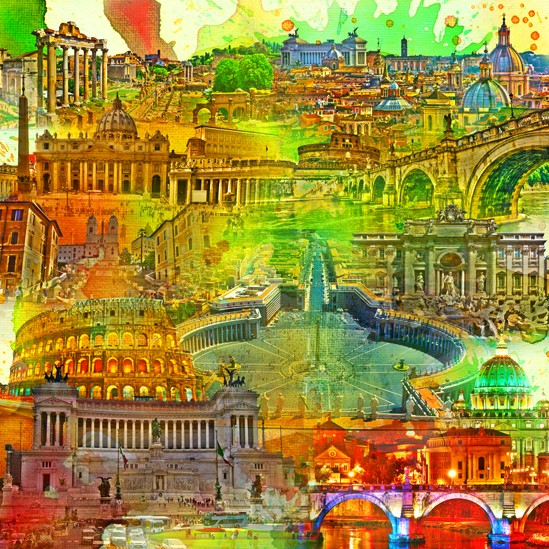 RAY - RAYcities - Rom - Collage - 70 x 70 cm