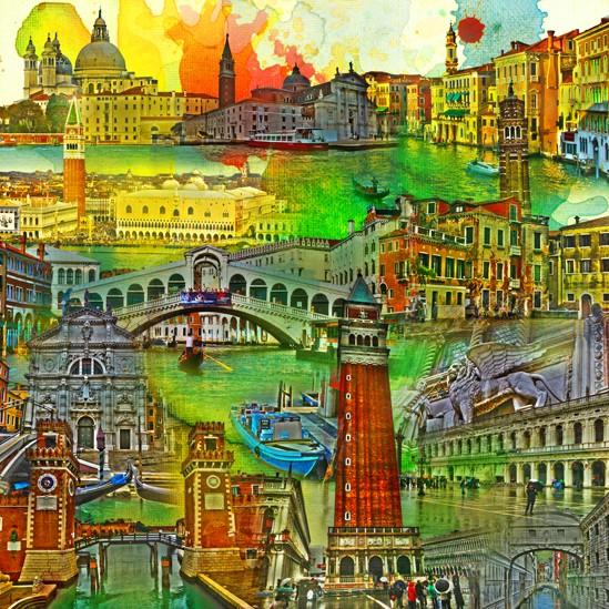 RAY - RAYcities - Venedig - Collage - 100 x 100 cm