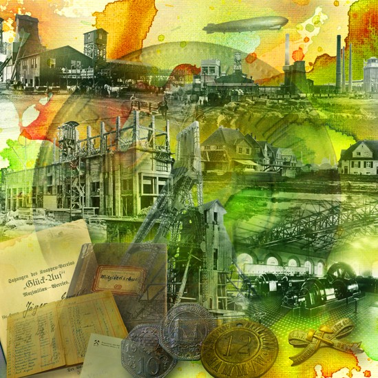 RAY - RAYcities - Hamm - Collage - 100 Jahre Zeche Maximilian - 70 x 70 cm