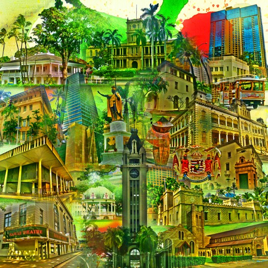 RAY - RAYcities - Honolulu - Collage - 70 x 70 cm