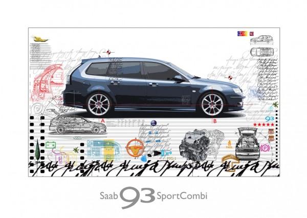 LESLIE G. HUNT - SAAB Sport Combi - 70x50 cm