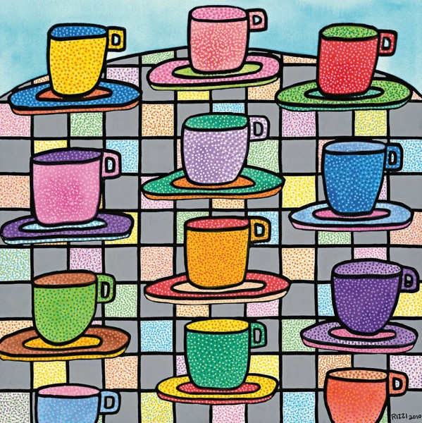 JAMES RIZZI - THE MOST COLORFUL CUPS OF COFFEE (Pigmentdruck auf LW)
