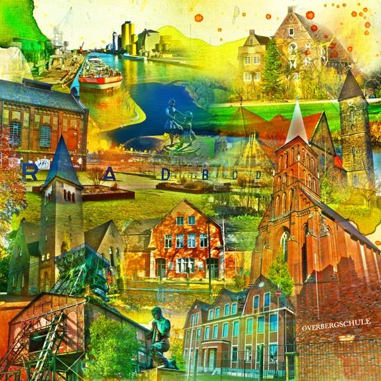 RAY - RAYcities - Hamm - Collage - Bockum Hövel - 70 x 70 cm
