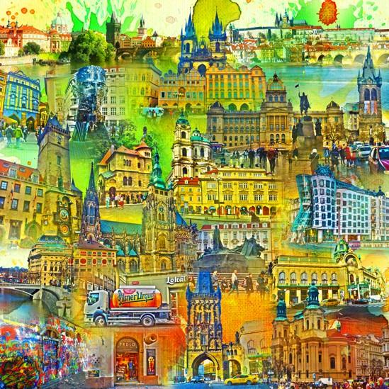 RAY - RAYcities - Prag - Collage - 100 x 100 cm