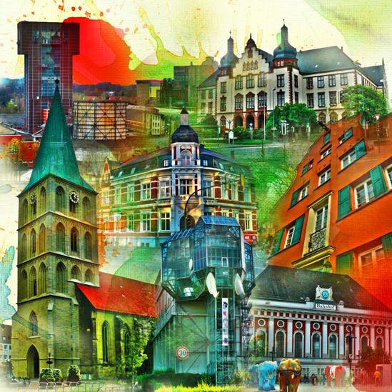 RAY - RAYcities - Hamm - Collage - City 3 - 100 x 100 cm
