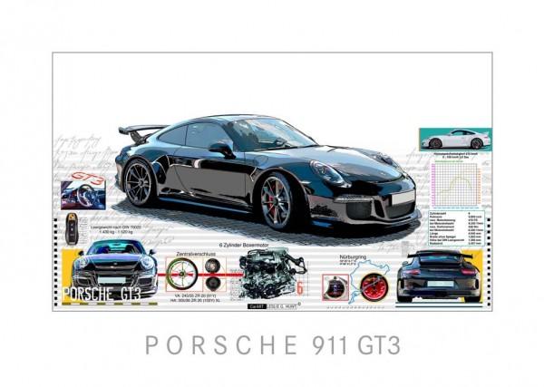LESLIE G. HUNT - Porsche 911 GT3 - 70x50 cm