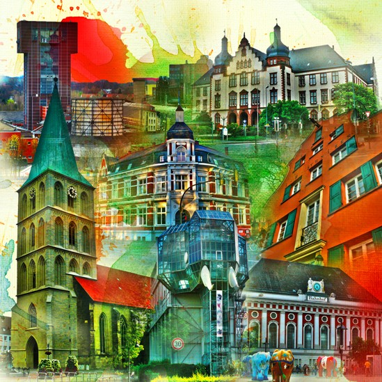 RAY - RAYcities - Hamm - Collage - City 3 - 70 x 70 cm