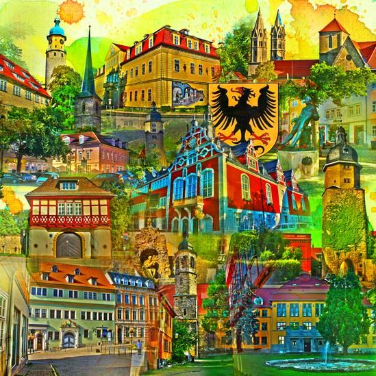 RAY - RAYcities - Arnstadt - Collage - 70 x 70 cm