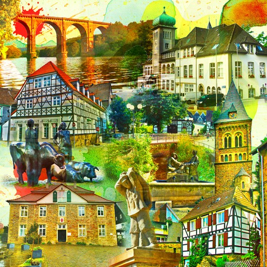 RAY - RAYcities - Herdecke - Collage - 70 x 70 cm