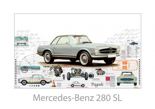 LESLIE G. HUNT - Mercedes Benz 280 SL - 100x70 cm
