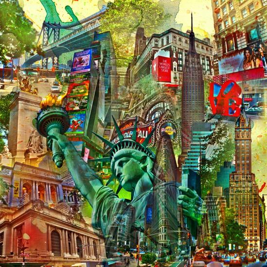 RAY - RAYcities - New York - Collage - 100 x 100 cm