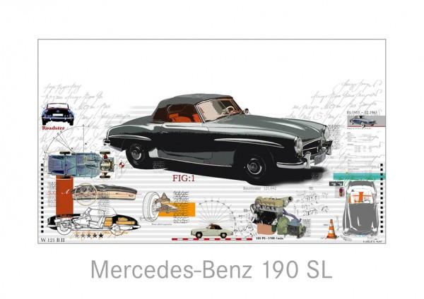 LESLIE G. HUNT - Mercedes Benz 190 SL - 100x70 cm