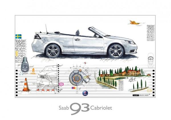 LESLIE G. HUNT - SAAB 9-3 Cabrio - 40x30 cm