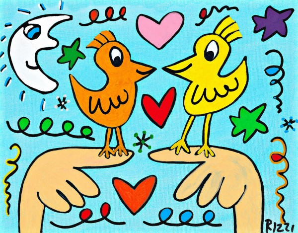 JAMES RIZZI - LOVE THOSE LOVE BIRDS (Pigmentdruck auf Leinw.)