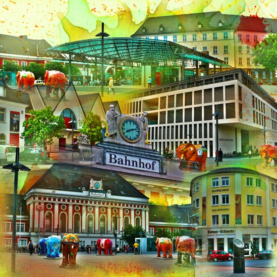 RAY - RAYcities - Hamm - Collage - Bahnhofsquartier - 70 x 70 cm