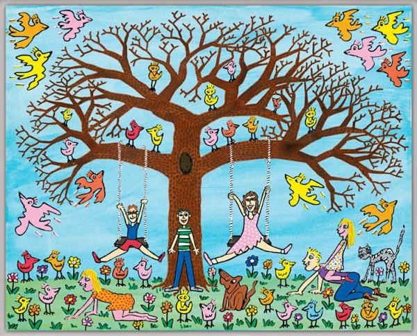 JAMES RIZZI - TREE TIMES THE FUN (Pigmentdruck auf Leinwand)