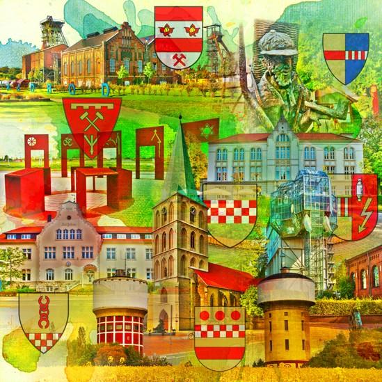 RAY - RAYcities - Hamm - Collage - 40 Jahre Grossstadt Hamm - 100 x 100 cm