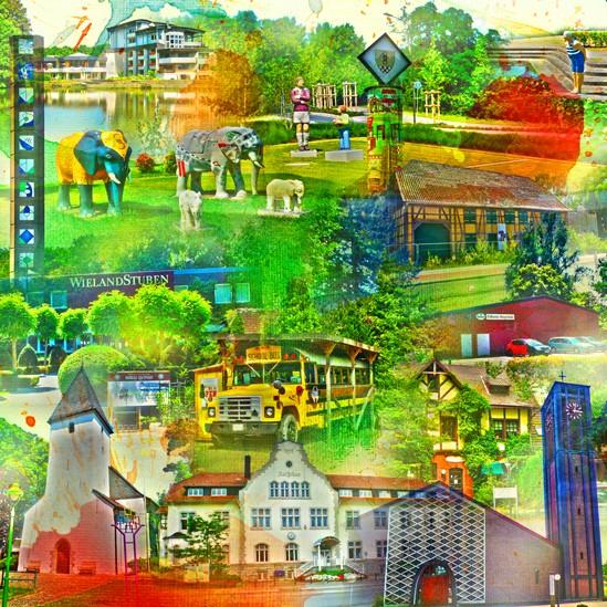 RAY - RAYcities - Hamm - Collage - Pelkum und Wischerhöfen - 100 x 100 cm