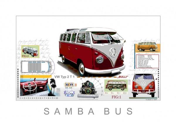 LESLIE G. HUNT - VW Samba Bus T1 - 70x50 cm