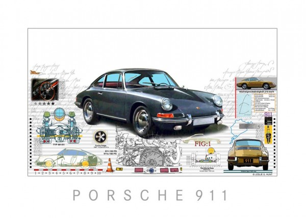 LESLIE G. HUNT - Porsche 901 + 911 - 40x30 cm