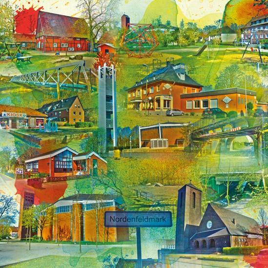 RAY - RAYcities - Hamm - Collage - Nordenfeldmark - 70 x 70 cm