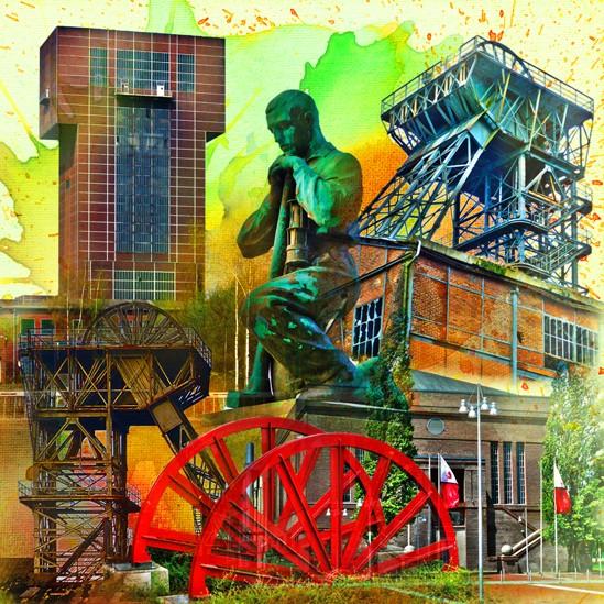 RAY - RAYcities - Hamm - Collage - Zechenkultur - 70 x 70 cm