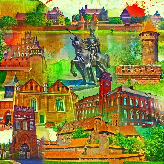 RAY - RAYcities - Marienburg - Collage - 100 x 100 cm