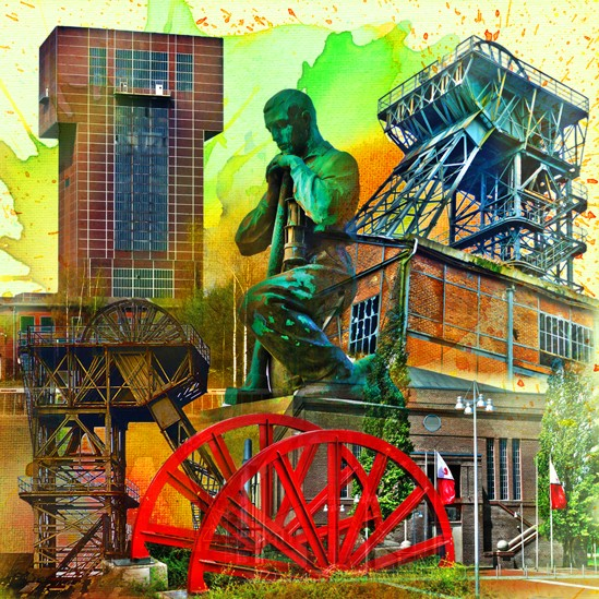 RAY - RAYcities - Hamm - Collage - Zechenkultur - 100 x 100 cm