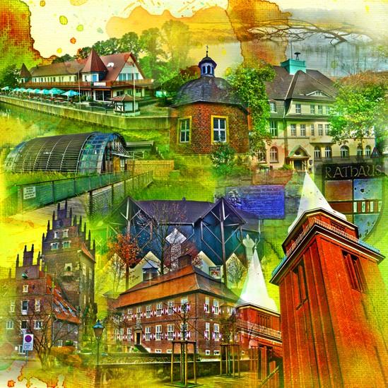 RAY - RAYcities - Hamm - Collage - Heessen - 100 x 100 cm
