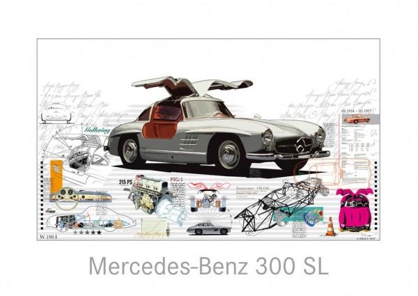 LESLIE G. HUNT - Mercedes Benz 300 SL - 40x30 cm