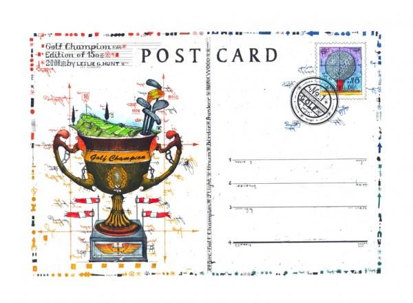 LESLIE G. HUNT - Golf Champion Postcard