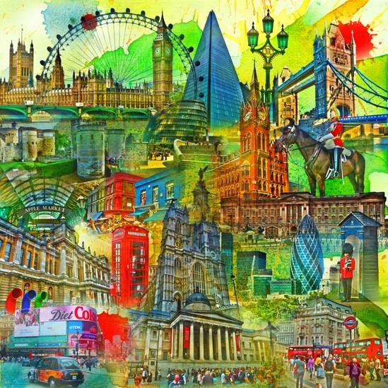 RAY - RAYcities - London - Collage - 100 x 100 cm
