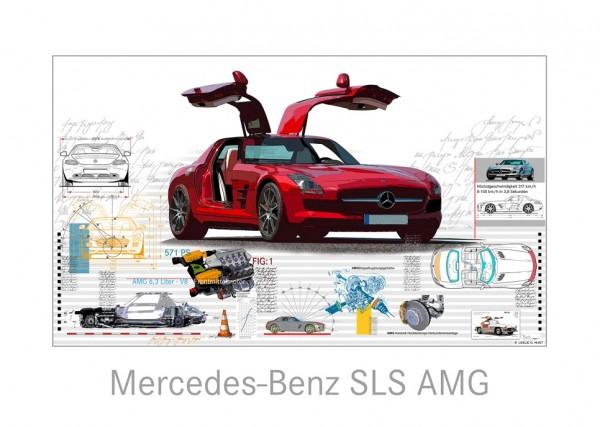 LESLIE G. HUNT - Mercedes Benz SLS AMG - 40x30 cm