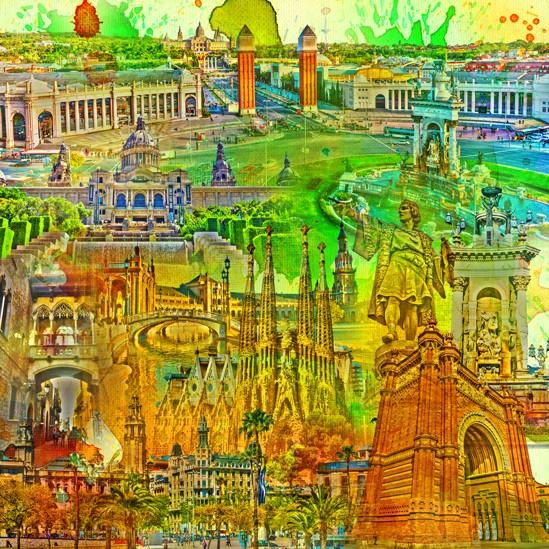 RAY - RAYcities - Barcelona - Collage - 70 x 70 cm