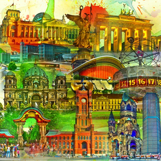 RAY - RAYcities - Berlin - Collage - 100 x 100 cm