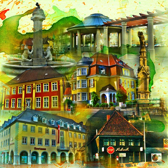 RAY - RAYcities - Hamm - Collage - Historisch 2 - 100 x 100 cm