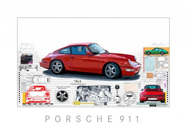 LESLIE G. HUNT - Porsche 911 + 964 - 40x30 cm