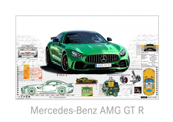 LESLIE G. HUNT - Mercedes Benz AMG GT R - 70x50 cm